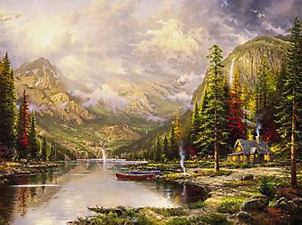Томас Кинкейд (Tomas Kinkade) - Величие гор (Mountain Majesty). (Код изображения: 24017)