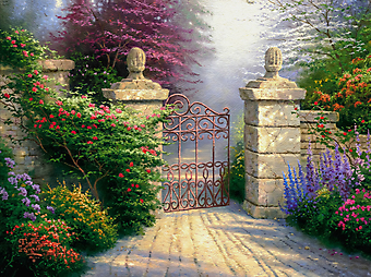 Томас Кинкейд (Tomas Kinkade) - Открытая калитка (The Open Gate). (Код изображения: 24019)