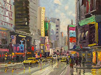 Томас Кинкейд (Tomas Kinkade) - Тайм-сквер (Time Square). (Код изображения: 24020)