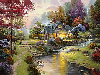 Томас Кинкейд (Tomas Kinkade) - Коттедж у тихой воды (Stillwater Cottage). (Код изображения: 24023)