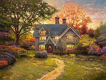 Томас Кинкейд (Tomas Kinkade) - Пряничный домик (Gingerbread Cottage). (Код изображения: 24024)