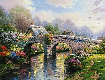 Томас Кинкейд (Tomas Kinkade) - Мост Болоссом (Blossom Bridge). (Код изображения: 24026)