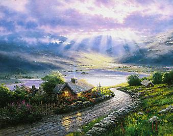 Томас Кинкейд (Tomas Kinkade) - Домик на изумрудном острове (Emerald Isle Cottage). (Код изображения: 24029)