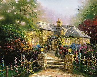 Томас Кинкейд (Tomas Kinkade) - Дом с цветущей мальвой (Hollyhock House). (Код изображения: 24031)