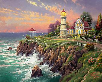 Томас Кинкейд (Tomas Kinkade) - Викторианский маяк (Victorian Light). (Код изображения: 24035)