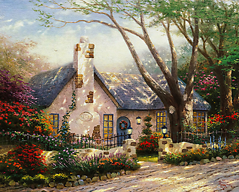 Томас Кинкейд (Tomas Kinkade) - Коттедж сияющим утром (Morning Glory Cottage). (Код изображения: 24036)