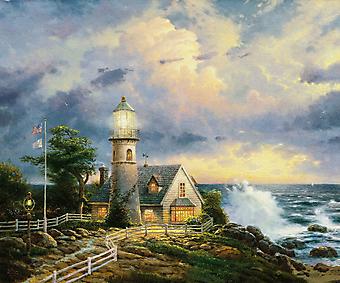 Томас Кинкейд (Tomas Kinkade) - Свет во время шторма (A Light In The Storm). (Код изображения: 24037)