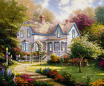 Томас Кинкейд (Tomas Kinkade) - Дом там, где твоё сердце (Home Is Where The Heart Is). (Код изображения: 24038)