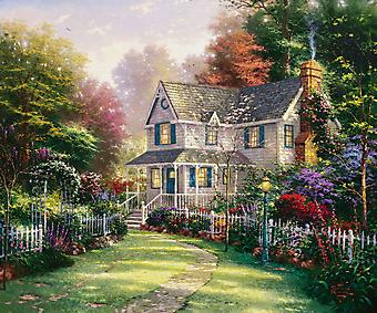 Томас Кинкейд (Tomas Kinkade) - Викторианский Сад (Victorian Garden). (Код изображения: 24041)