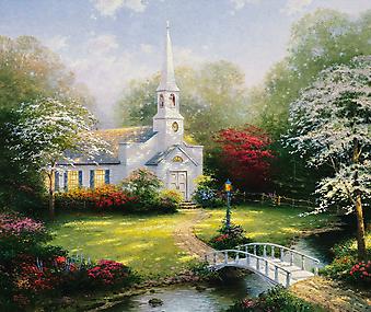 Томас Кинкейд (Tomas Kinkade) - Часовня родного города (Hometown Chapel). (Код изображения: 24042)