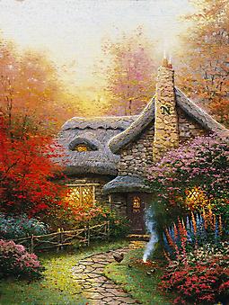 Томас Кинкейд (Tomas Kinkade) - Коттедж Эшли осенью (Autumn At Ashley's Cottage). (Код изображения: 24046)