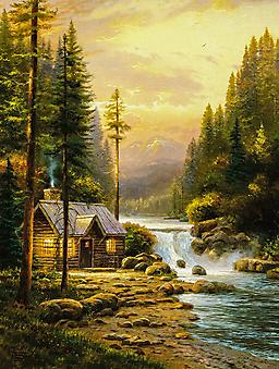 Томас Кинкейд (Tomas Kinkade) - Вечер в лесу (Evening In The Forest). (Код изображения: 24047)