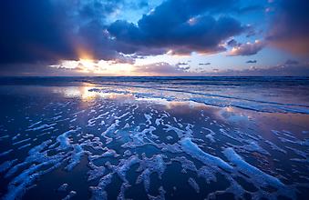 Океан и закат солнца. (Код изображения: 04004)