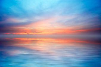 Океан и закат солнца. (Код изображения: 04007)