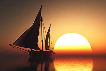 Яхта в море на закате. (Код изображения: 04010)
