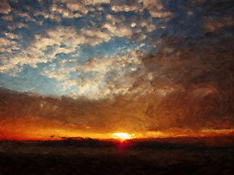 Облака и солнце на рассвете. (Код изображения: 04030)
