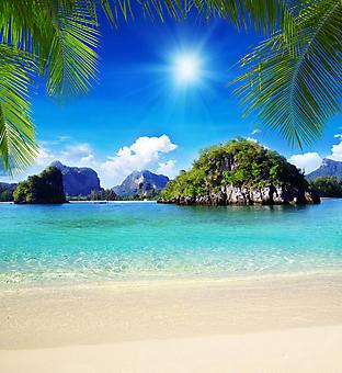 Пляж с видом на море и острова. (Код изображения: 05089)