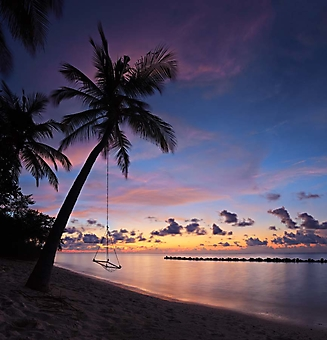 Вечерний пляж с качелями, Мальдивы (Каталог номер: 05134)
